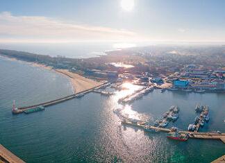 Widok z lotu ptaka na port i molo – Władysławowo